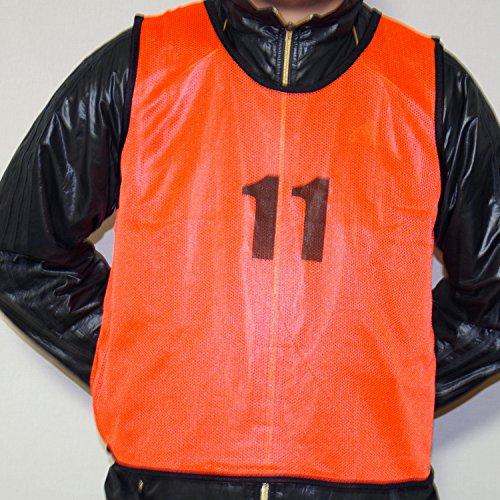 【BeryKoKo】 ビブス 1番 ~ 6番 オレンジ & グリーン 12枚 セット サッカー フットサル ベスト 【正規品/30日間保証】