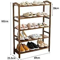 5ティア靴ラック木製収納キャビネットユニットシューズオーガナイザーバンブーシェルフ15ペア(マルーン)(L)69x(D)25.5x(H)102 Cm
