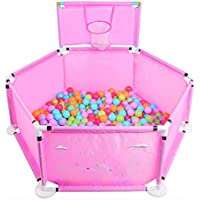 折りたたみ可能な赤ん坊の子供の遊び場バスケットボールのフープとボール、ピンクの遊びペンルームディバイダープラスチック6サイドパネル (サイズさいず : 200 balls)