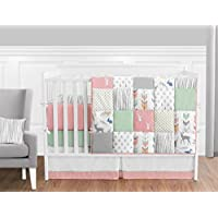 Coral Mint and Grey Woodsy Deer Girls Baby Bedding 9 Piece Crib Set with Bumper [並行輸入品]
