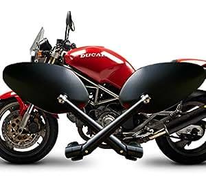 【SANCTUS】 バックミラー オーバルミラー アルミビレットミラー 汎用品 ブラック Ducati BMW Triumph などに PL保険対象商品 バイクミラー (ブラック)