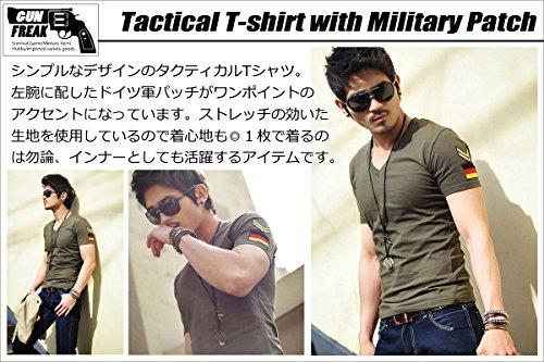 (ガン フリーク) GUN FREAK タクティカル Tシャツ 半袖 ミリタリー サバゲー ドイツ パッチ Vネック ( L , オリーブドラブ )
