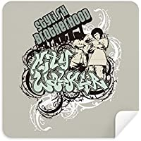 Graffiti Street CultureボーイズスタイリッシュなBrotherhoodメガネクリーニングクロス電話画面クリーナースエードファブリック2pcs