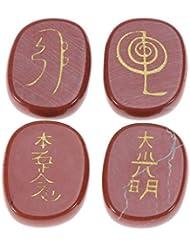 Healifty 宗教 石 彫刻 天然 クリスタルストーン エンジェル記号 彫刻 瞑想 4個(ダークレッド)