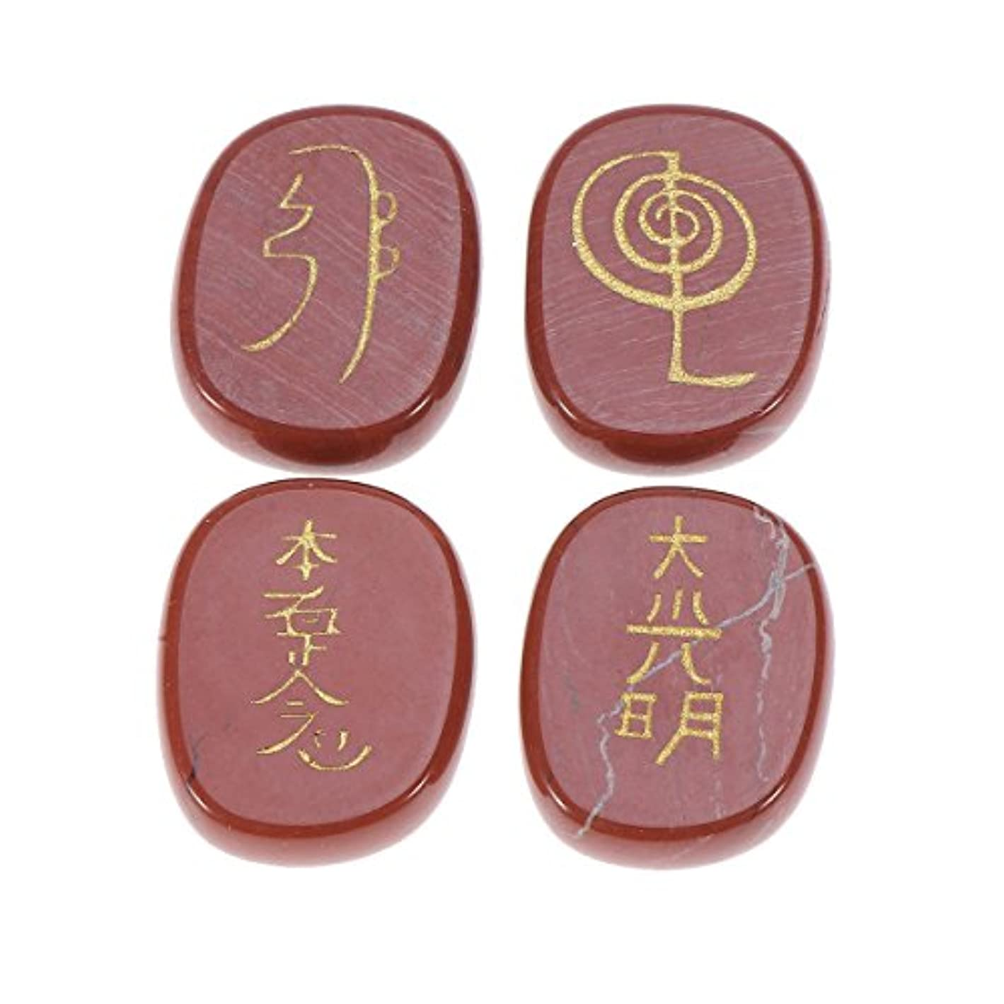 歴史タイマー実用的Healifty 宗教 石 彫刻 天然 クリスタルストーン エンジェル記号 彫刻 瞑想 4個(ダークレッド)