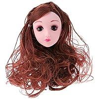 Domybest 人形頭 人形アクセサリー ウィッグ ヘア 人形ヘッド バービー ケーキ人形 4Dの目 少女 DIY 玩具 ドール髪 かつら ボディアクセサリー キット 着せ替え人形パーツ ごっこ遊び 子供 キッズ 女の子 可愛い