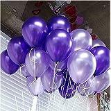 【hanano】紫 風船 パープル 2色 バルーン アソート 10インチ 100個セット 極厚 クラム 光沢 色合い ラテックス パステル メタリック 誕生日 パーティー 結婚式 イベント 飾り