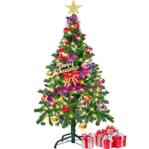 クリスマスツリー セット150㎝ オーナメント 13種類 LEDライト付 8パターン イルミネーション付き おしゃれ 飾り 大型