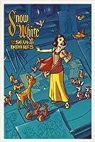 ポスター ジェームス フレームス Mondo Snow White 白雪姫 Cyclops Print 限定305枚 手書きナンバリング入り 額装品 ウッドベーシックフレーム(ホワイト)