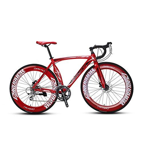 Cyrusher XC700 かっこいい 自転車ロードバイク 700*28C シマノ14段ギア搭載 初心者 街乗り 超軽量 男女兼用 通勤通学 (レッド)