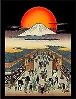 【FOX REPUBLIC】【富士山 浮世絵】 黒マット紙(フレーム無し)A4サイズ