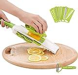 スライサー 6機能 安全ホルダー付き よく切れる スライス 千切り みじん切り ピーラー 野菜カッター 調理器セット キッチン用品 グリーン