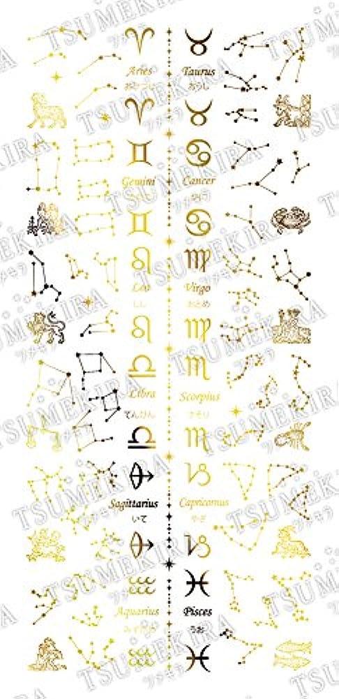 宿題をする時系列残酷なTSUMEKIRA(ツメキラ) ネイルシール 星座 ゴールド SG-ZDC-104
