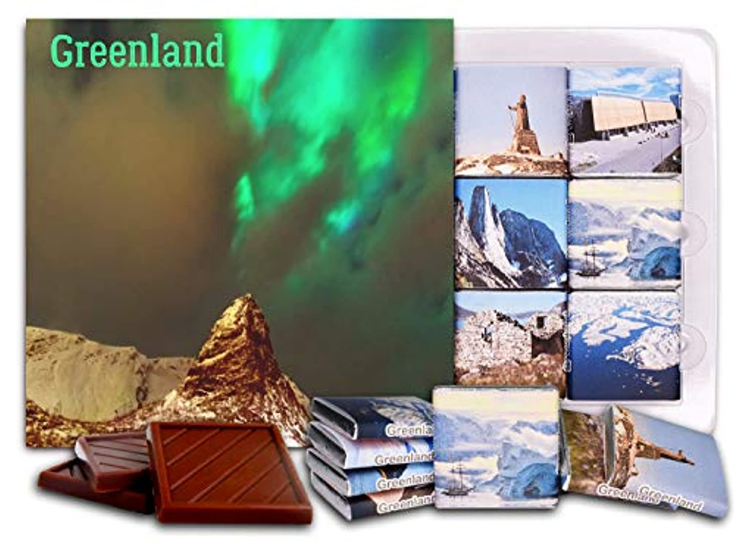 密寄託運ぶDA CHOCOLATE キャンディ スーベニア  グリーンランド  GREENLAND チョコレートセット 5×5一箱 (Northern Lights)