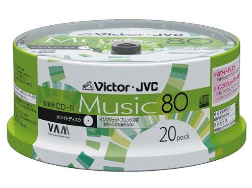 ビクター 音楽用CD-R 80分 ワイドホワイトプリンタブル 20枚 CD-A80T20W