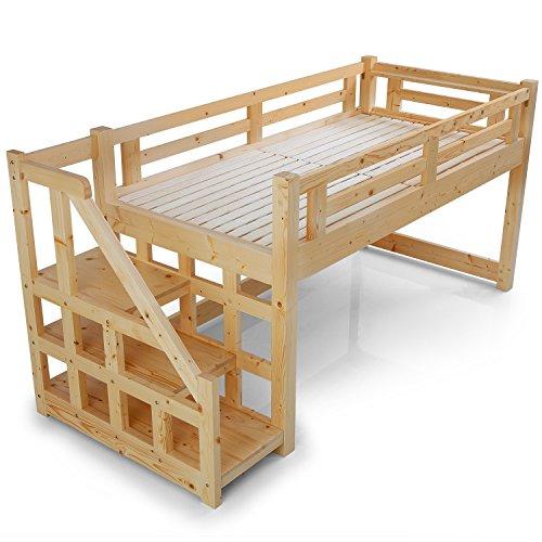 LOWYA (ロウヤ) ロフトベット 木製ベット 天然木 北欧パイン スノコ 階段 左右対応 ミドルタイプ シングルベット ナチュラル 一人暮らし おしゃれ 新生活