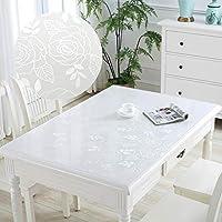 褪色防止テーブルカバー 家庭用ソフトガラスのテーブルクロス防水アンチ - スケーリングテーブルマット透明な色のテーブルクロスプラスチックコーヒーテーブルデスクマットクリスタルのバージョン 多目的テーブルクロス (Color : White rose, Size : 80*120cm)