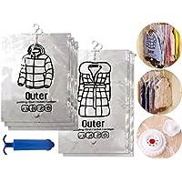 【Dizzy】 衣類 圧縮袋 6枚セット 吊るせる 日本語説明書付き ポンプ付 圧縮 袋