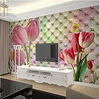 Lcymt ファッションインテリアフラワーデザイン3D壁画壁紙現代ソフトパックステレオチューリップ写真壁画リビングルームの寝室の装飾-200X140Cm