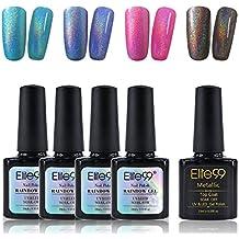 Holographic Holo Nail Polish Long Lasting Glitter Rainbow Varnish Soak off Nail Lacquer 4 Colors + Metallic Top Coat C002