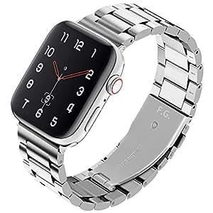 Fullmosa SUS ステンレス アップルウォッチ バンド アップルウォッチ4 バンド コンパチ apple watch5 44mm バンド ビジネス 鋼製 交換用 appleウォッチ5 40mm ベルト apple watch4 ステンレス バンド 40mm アップルウォッチ44 ベルト メンズ レディース (44mm, シルバー)