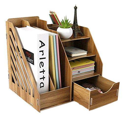 デスク上置棚 卓上収納ボックス 引き出し付き 本立て 木製 マガジンラック オフィス 文書 書類入れ ファイルボックス 筆入れ ペン立て 文具ホルダー 机上用品 整理整頓 多機能 組み立て式 卓上収納ラック おしゃれ 文房具 オフィス用品 木目