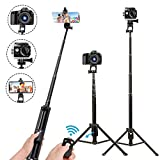 Selfie Stick Tripod,54 Inch Extendable Phone Tripod for Cell Phone,Wireless Remote for Apple and Android Devices,Compatible with iPhone 11 Pro Xs X 8 7 6 Plus,Samsung Note10 S10 S9 S8,Gopro,Camera