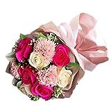 ソープフラワー 花束 ブーケ ピンク シャボンフラワー 造花 アーティフィシャルフラワー 枯れない 花 誕生日 還暦 お祝い 古希 お見舞い