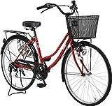 完全組立 VOLDY(ボルディ) 26インチ自転車ママチャリ VO-VM-266 シマノ製6段ギア付き (レッド)