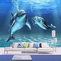 Ansyny カスタム写真の壁紙3D立体壁画の寝室のリビングルームのテレビの背景の装飾プリント壁紙マリンイルカ-280X180CM