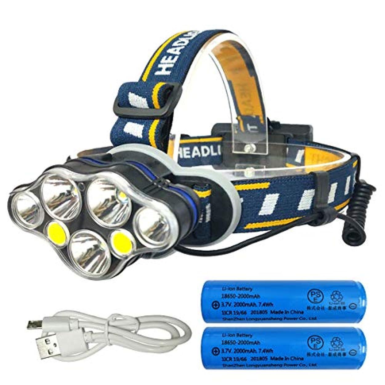 浮浪者再開海里LZW LEDヘッドライト 12500ルーメン USB充電式 防水 8点灯モード 作業灯 防災 登山 釣り ランニング 夜釣り PSE認証済み 18650型バッテリー 付属