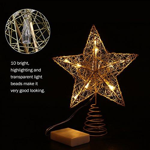 NICEXMAS クリスマスツリー トップ LEDスター ライト イルミネーション エレガント クリスマス ツリー オーナメント 飾り デコレーション (金色)