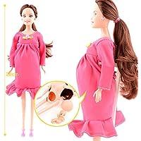 妊婦の人形 ドレス付 お母さんのお腹に赤ちゃんがいます 教育用 バービー 人形用 (ピンク)