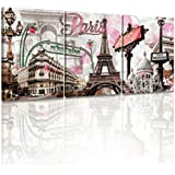 (Paris 12''x16''x3) - Decor Mi Modern Wall Art Pink Paris Eiffel Towel Decor Romantic City Paintings Poster Prints On Canvas