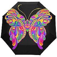 折りたたみ傘 ネイチャーバタフライ昆虫 日傘 ワンタッチ自動開閉 超軽量 完全遮光 uvカッ レディース傘頑丈な8本骨 耐風撥水 紫外線対策 遮熱効果 晴雨兼用