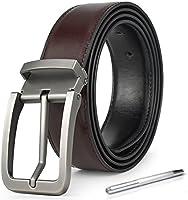 「ロマネ・コンティ」 ベルト メンズ 革 ブランド ビジネス カジュアル サイズ調整可能 本革 リバーシブル カットフリータイプ 穴あけポンチ/化粧箱付き 34ミリ幅 125cm 合金バックル2型