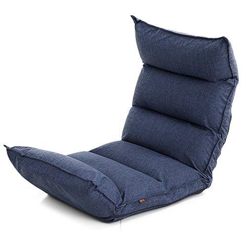 LOWYA (ロウヤ) 座椅子 【高反発&低反発のダブル触感!】 42段ギア リクライニング ソファ生地 ネイビー おしゃれ 新生活
