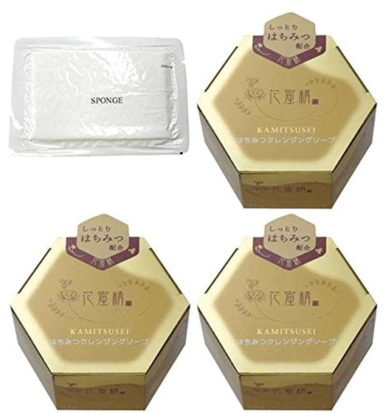 実装する解凍する、雪解け、霜解け岩花蜜精 はちみつクレンジングソープ 85g 3個 + 圧縮スポンジセット