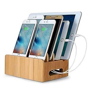 Maxnic 竹製卓上ホルダー 多機能の充電スタンド スマートフォン, タブレットとラップトップのスタンド収納充電ホルダー