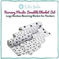 Cutie Bebe Nursery モスリンブランケットセット - 大きな竹製ブランケット 新生児 赤ちゃん 女の子 男の子 男女兼用 47インチ x 47インチ 3 Pack 341