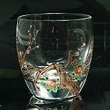 京焼き絵付け 冷酒グラス 十二ケ月花鳥図(梅椿) 013GTY