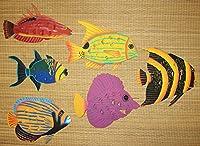 CORAL REEF CREATIONS 手描きメタルアート6点セット トロピカルフィッシュ 壁掛け