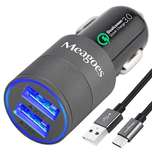 Meagoes カーチャージャー 車載充電器 Quick Charge 3.0+3.0A USBポート*2 usbカーチャージャー シガーソケットチャージャー 急速充電 Galaxy S10 Plus/S10/S10e/S9 Plus/S9/S8+, Note 9/8,/Huawei Mate 20 Pro,Xperia XZ3などのType-C端子搭載の設備に対応