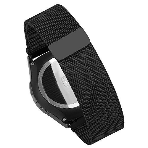 Pinhen MOTO 360 時計バンド マグネットクラスプ ステンレス ウォッチ 交換ベルト バネ棒 20mm (Milanese Loop 20MM Black)