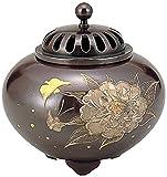 竹中銅器 平丸香炉 牡丹 134-54