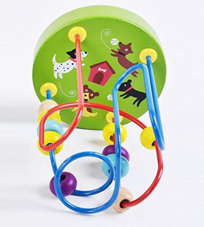 HuaQingPiJu-JP ミニ木製のカラフルなアバカス円のおもちゃ教育のビーズ迷路子供のためのクリエイティブギフト(グリーン)