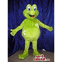 ほとんど白の水玉カスタマイズ明るい緑色のカエル