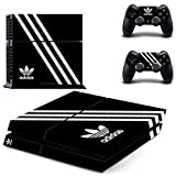 アディダス Hambur? Protective Vinyl Skin Decal Cover for Sony PlayStation 4 PS4 Console & Remote DualShock 4 Controller Sticker Skins --- Adidas Design Black by Hambur [並行輸入品]
