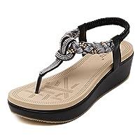 [HR株式会社]レディース サンダル 美脚 厚底靴 ビーチサンダル 歩きやすい シューズ ウェッジヒール ボヘミア風 通気性 滑り止め 履きやすい サイズ22.5cm-26.0cm 黒色23センチ