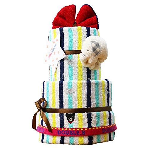 DOUBLE_B(ダブルビー) 出産祝い 日本製 2段 おむつケーキ 今治タオル パンパースS オーガニック ガラガラ mikihouse(ミキハウス) imabari towel 男の子でも女の子でも